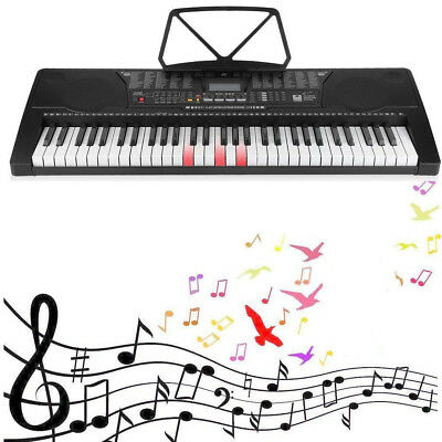Digital 61 Tasten Keyboard E-Piano Klavier Lernfunktion Set Mit Stativ Ständer ^