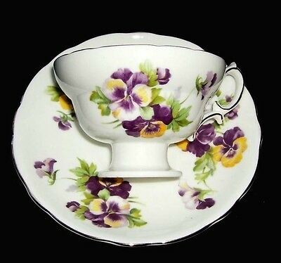 Vintage Hammersley & Co. Bone China Tea Cup - Pansy - Order of the Royal Purple