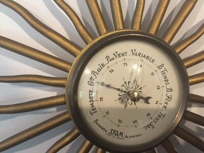"Barometer French Vintage ""soileil"" Gold Metal"