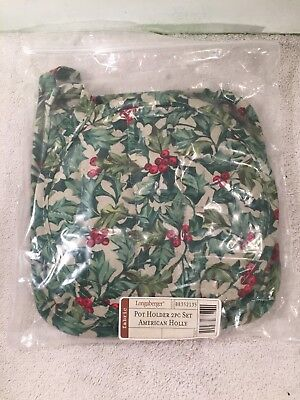 Longaberger Pot Holder 2 Pc Set American Holly Round Square NEW 88352135 NIP