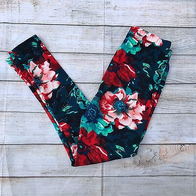Red Blue Green Floral Girl's Leggings L/XL Size 6-8 soft as LLR