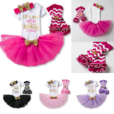 First 1st Birthday Outfits Baby Girl Gold Bow Tutu Dress Infant Clothing Sets