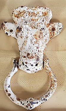 "Cast Iron Bull Steer Cow DOOR KNOCKER Large 6"" Rustic Rusty Heavy Vintage Chippy"