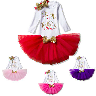 Baby Girl 1st First Birthday Party Tutu Outfit Romper Sets Christening Suits