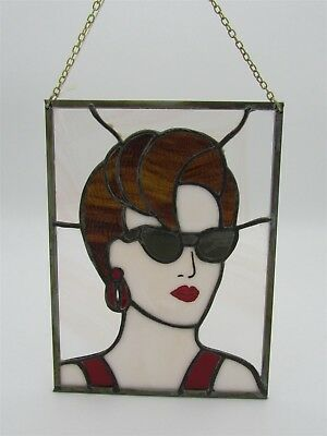 Stained Glass Lady in Red or Girl with Sunglasses Panel Handmade