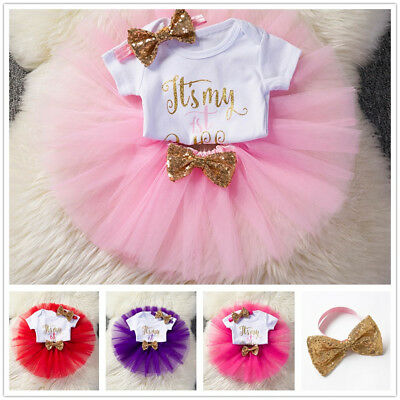 e698741d526 Baby Girls 1st First Birthday Dress Romper Tutu Outfits Kids Party Suit  Gold One
