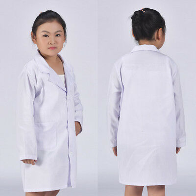 Kids Children Unisex White Lab Coat Doctor Uniform Scientist Medical Costume NEW