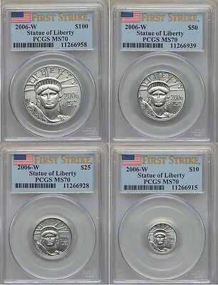 2006-W $10 $25 $50 $100 Platinum Burnished Eagle Pcgs Ms70 First Strike 4Coinset