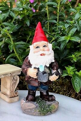 Miniature Dollhouse FAIRY GARDEN Accessories ~ Red Cap Gnome with Watering Can