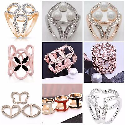 Women Ladies Scarf Ring Brooch Pin Accessory Buckle Clip Holder Crystal F8