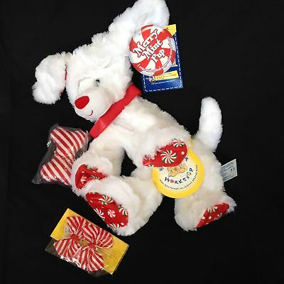 NWT Build A Bear unstuffed Christmas white Merry Mint Pup Puppy Dog Striped Bows
