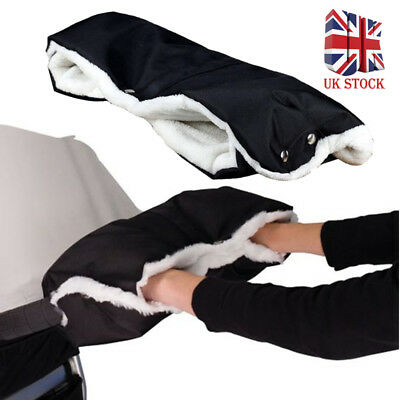 UK Black Pushchair WARMER Gloves Pram Hand Muff Waterproof Stroller Accessory