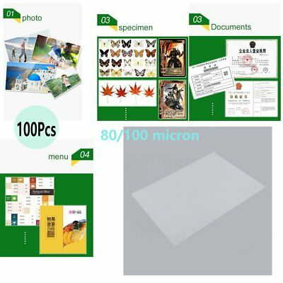 x100 A4 Laminating Pouches Plastic Film Pouches 80/100MIC For Paper Preservation