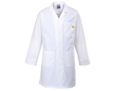 Portwest AS10 Anti-Static ESD Lab Coat- White  Size Small
