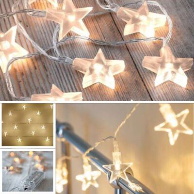 Battery Operated Star Lights 10 LED Christmas Party Fairy Mains Powered Plug-in