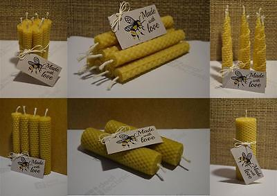 Bundle of 1,2,4,8 Hand Rolled Handmade Pure Beeswax Candles from Beeswax Sheets