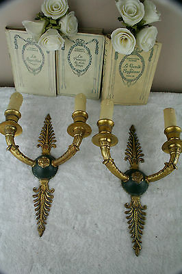 PAIR French empire Brass Metal green Wall lights sconces 1950's
