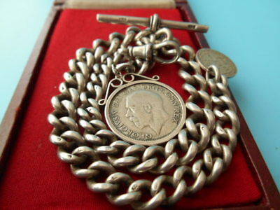 ANTIQUE SOLID SILVER DOUBLE ALBERT CHAIN MOUNTED COIN SHILLING & 3d NOT SCRAP