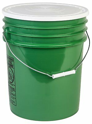 Hudson Exchange 90 Mil HDPE Bucket with Handle and Lid, 5 gal, Green, 6 Pack
