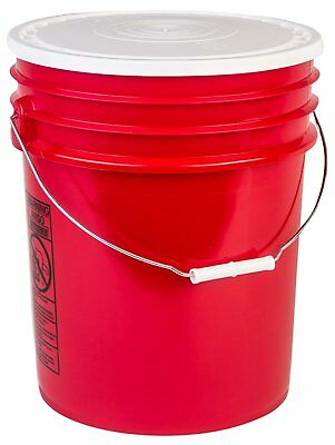 Hudson Exchange 90 Mil HDPE Bucket with Handle and Lid, 5 gal, Red, 6 Pack