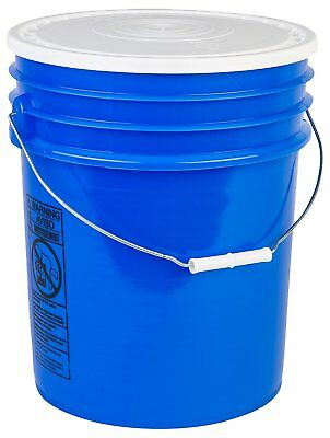 Hudson Exchange 90 Mil HDPE Bucket with Handle and Lid, 5 gal, Blue, 6 Pack