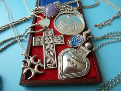 JOB LOT SOLID SILVER VINTAGE & MODERN 7 PENDENTS & CHAINS NOT SCRAP 101gms