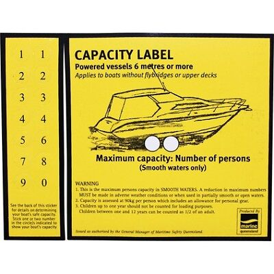 Self Adhesive Boat Sticker - Capacity Over 6m
