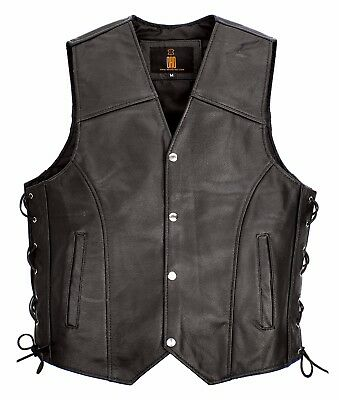 Mens Real Leather Biker Style Waistcoat Genuine Leather Motorcycle Vest Lacing