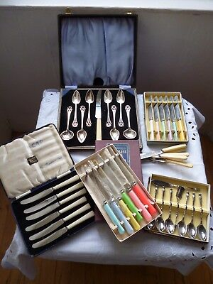 Original vintage 6 Sets of Cutlery  Butter Knives, Spoons, Grapefruit Set