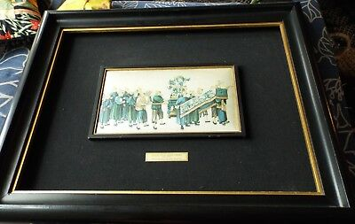 Chinese small silk painting, backed by fabric, in large dark wood frame