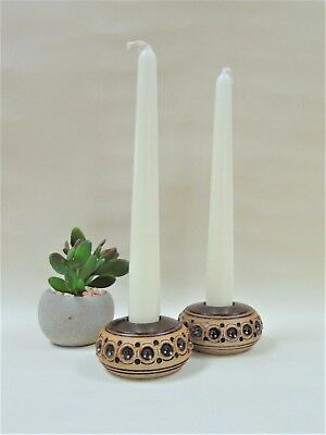Jersey Pottery Stoneware Candle Holders Pair Channel Islands Vintage Ceramics
