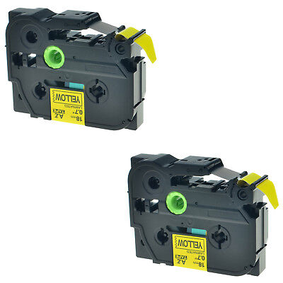 2 PK TZ-641 Label Tape Black on Yellow TZe-641 For Brother P-touch PT-D600 3/4''