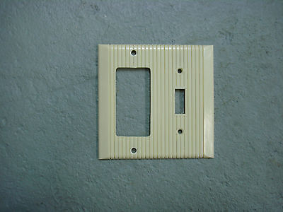 Vintage Uniline Ivory Decora GFCI Switch Outlet Cover Plate 2 Gang Ribbed GE