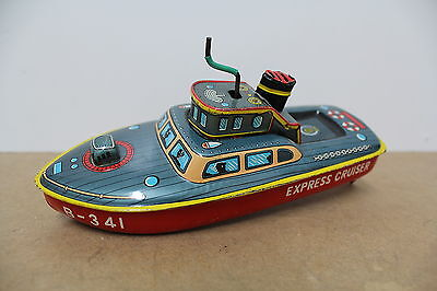 Bandai Japan Ship Boat B-341 Express Cruiser Uhrwerk Antique old Tin Blech Box