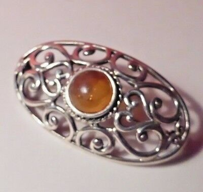 Vintage Silver 925 Marked Brooch With Cabochon Baltic Amber