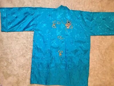Rayon Japanese Robe in Aqua Blue w/Golden Dragon embroidery Size 34 NWOT
