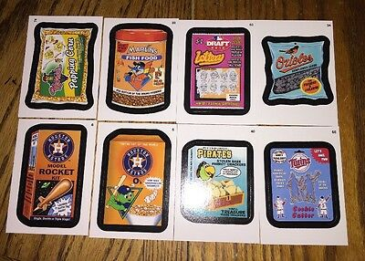 Topps Major League Baseball MLB Wacky Packages 4 Sticker Cards Lot Loose