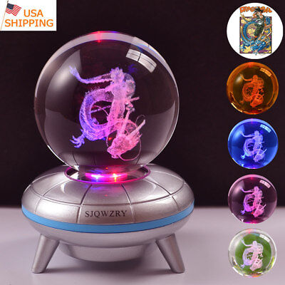 Dragon Ball Z Son Goku 3D LED Crystal Night Light Table Desk Lamp Birthday Gift