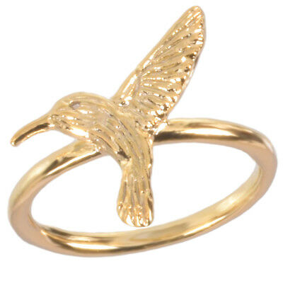 Gold Plated Hummingbird Ring by Zoetik