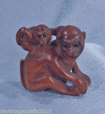 Japanese Netsuke Hand Carved Boxwood Monkey with Baby on Back