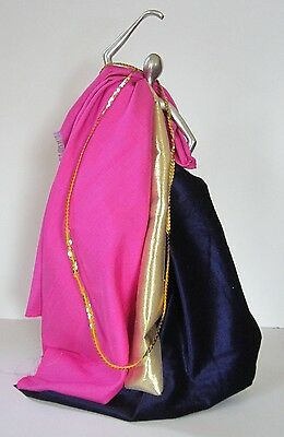 Shantung Silk Purple Velour With Gold Glitter to Doll up Your Dolly