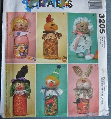 Unique Uncut Pattern For Jar Topper Doll Heads Great for Consumable Gifts.