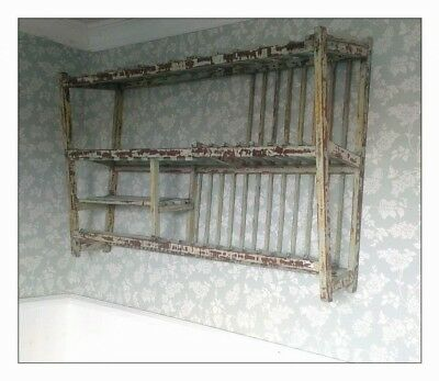 Large Plate Rack Indonesian industrial boatwood wooden large wall shelf kitchen