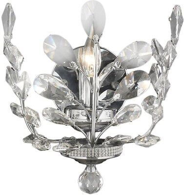 Floral Orchid Collection 1-light Chrome Finish And Clear Crystal Wall Sconce