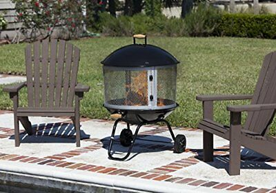 Outdoor Patio Portable Fire Pit With Weels 28 by 45.7 inches Large single door