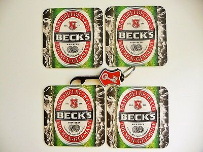 BECK's Bottle Opener / Key Chain and Coaster Set - Beck's Beer ~ New!
