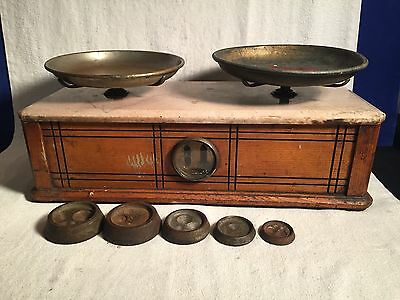 Antique Pharmacy Apothecary BALANCE Scale Wood Marble + Weights TROEMNER VII