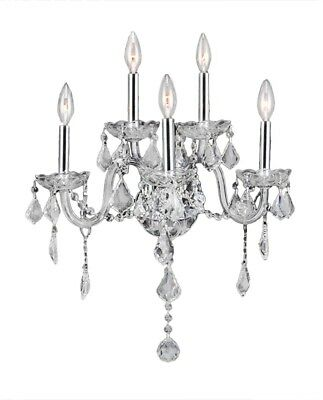 Venetian Italian Style 5-light Chrome Finish And Clear Crystal Candle Wall