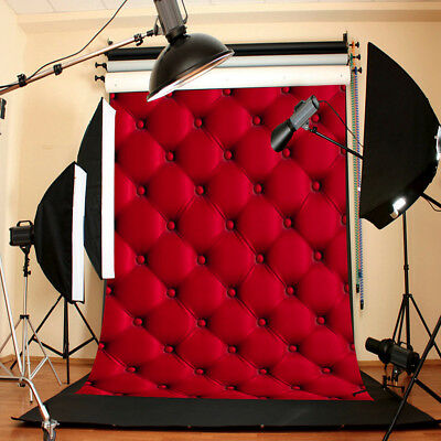 3D 5x7FT Vinyl Red Wall Photography Background Backdrop For Studio Photo Prop