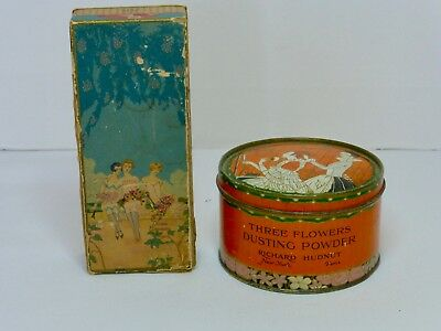 Vintage Lot Of 2 Art Deco Richard Hudnut THREE FLOWERS Perfume Box Powder Tin